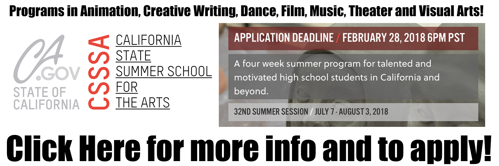 Summer Arts Program for High School Students